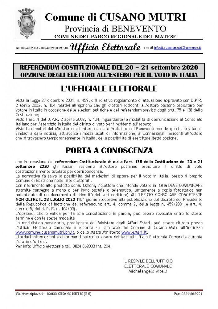 Avviso Opzione voto elettori A.I.R.E.